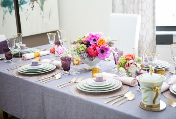 mothers day tablescape purple and gold