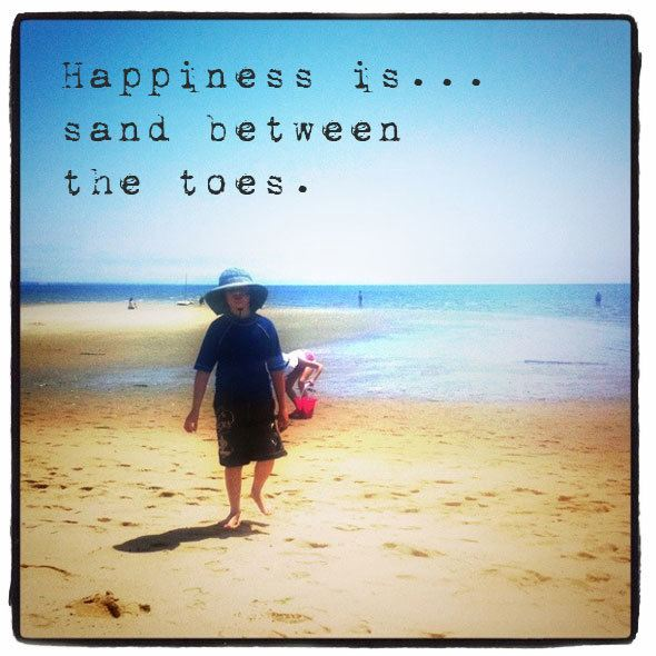 Happiness is... sand between the toes. Beach quotes at  http://www.skimbacolifestyle.com/2013/07/beach-quotes.html