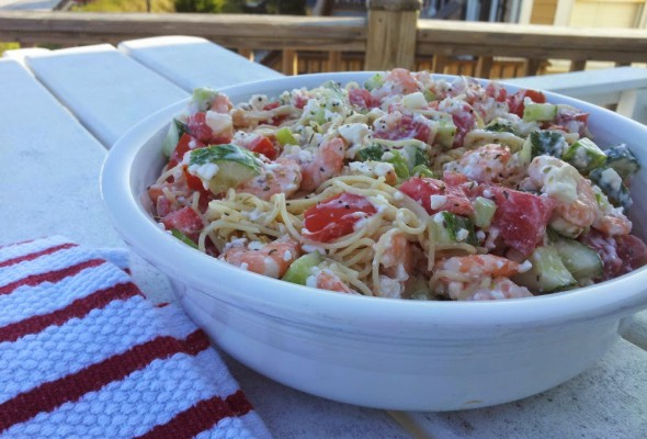 Grover's  Feta and Shrimp Pasta Salad