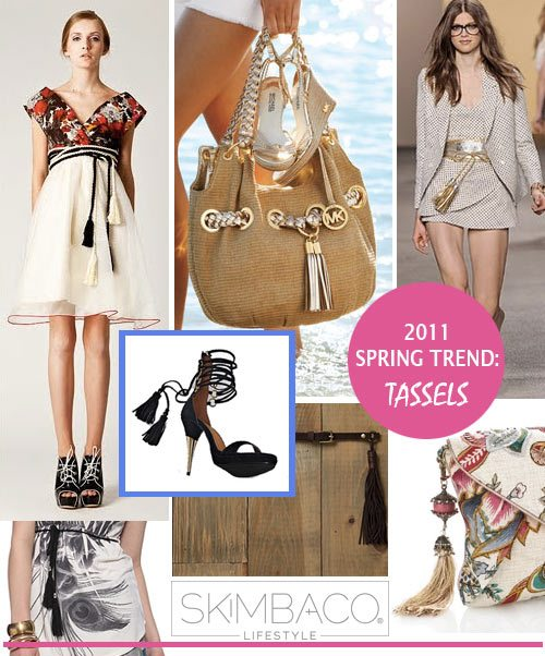 Fashion trend tassels, tassel handbags, clothes with tassels