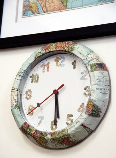 clock with map, world clock, map clock