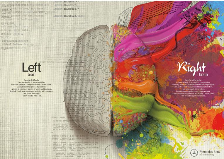 left brain, right brain, Mercedes-Benz