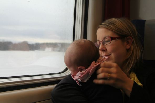 Traveling with a baby in the train