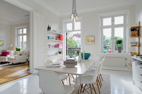 Gorgeous Swedish All White Home With Pop Of Color