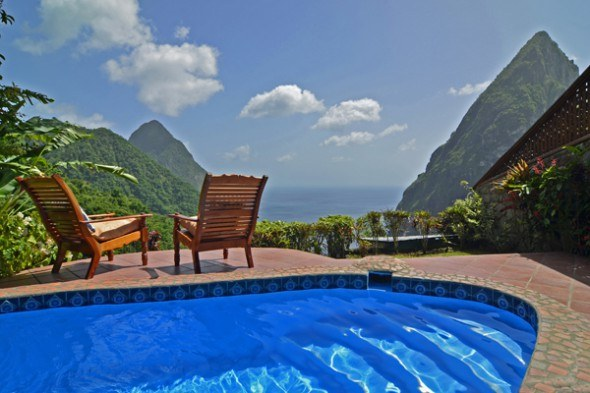 Caribbean; St.Lucia Ladera Resort 2Bed villa D, pool & chairs to Piton