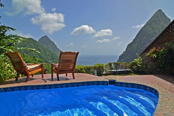 Caribbean; St.LuciaLadera Resort2Bed villa D, pool & chairs to Piton