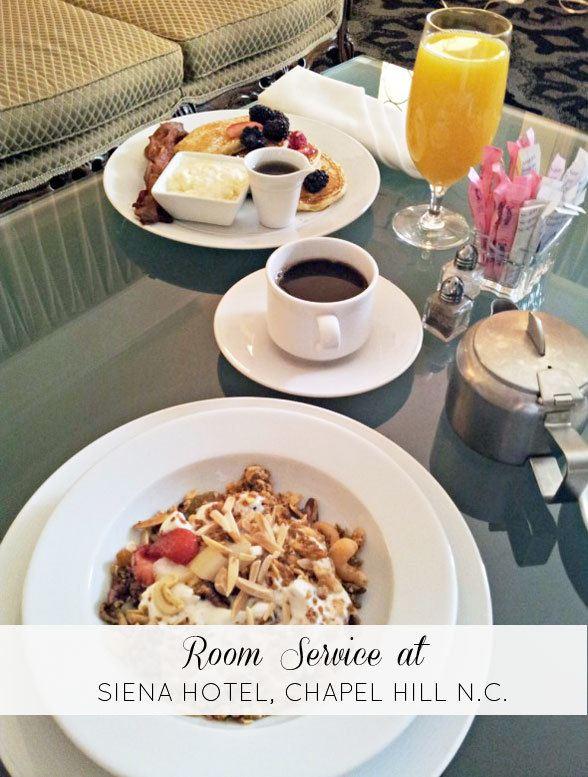 room service at Siena Hotel, Chapel Hill, NC