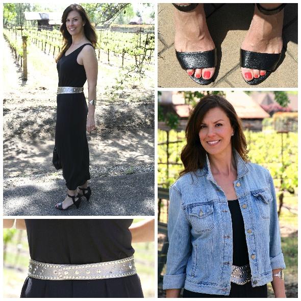 Black Maxi Dress with Bold Belt