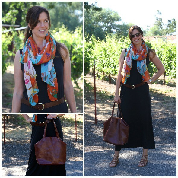maxi dress maroon scarf