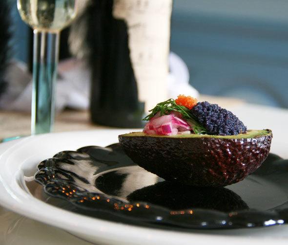 caviar filled avocados