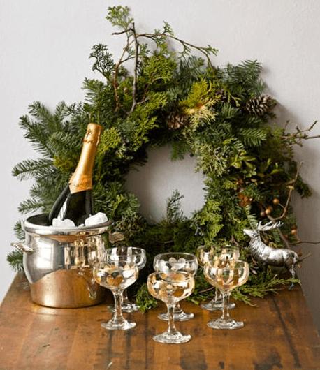 champagne in chalet for apres-ski
