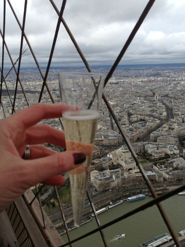 Drinking Champagne While Visiting The Summit Of The Eiffel