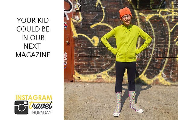 Your traveling kid could be featured in our next magazine!