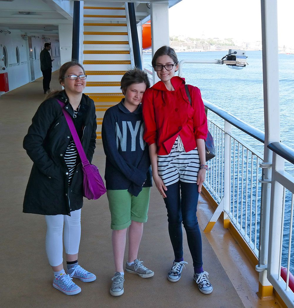 I'm on a boat! Kids on Viking Grace going to Finland
