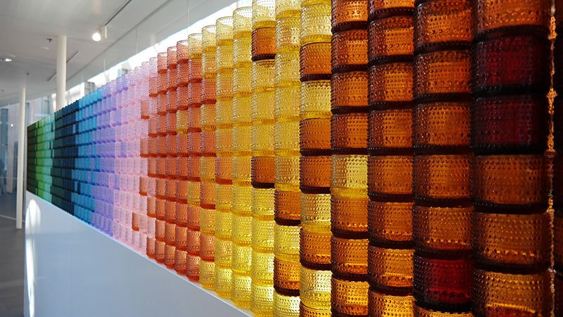 colorful glass votive installation created with iittala's candle votives.<br />