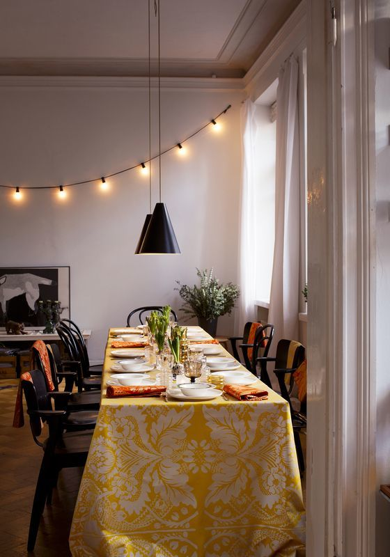 Finnish style christmas table set with marimekko fabrics
