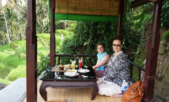 Lunch by the rice fields in Ubud, Bali