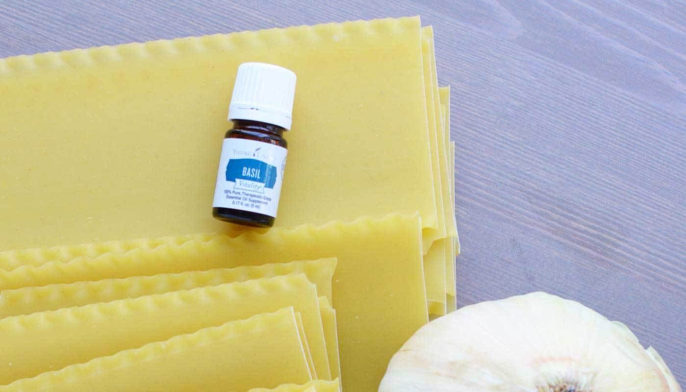 Cooking with essential oils: vegetarian lasagna with Young Living's Basil Vitality essential oil. Via @skimbaco
