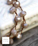 IGNITE Large Cream Crystal Crochet Strand with Brown Lava Bead & Cream Geode Focal