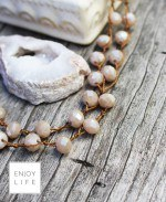 IGNITE Large Cream Crystal Crochet Strand with Brown Lava Bead & Cream Geode Focal diffuser necklace