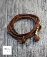 Brown leather diffuser bracelt