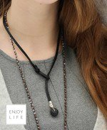 Leather Wrap Bracelet/Lariat with Lava Bead - 21 inches
