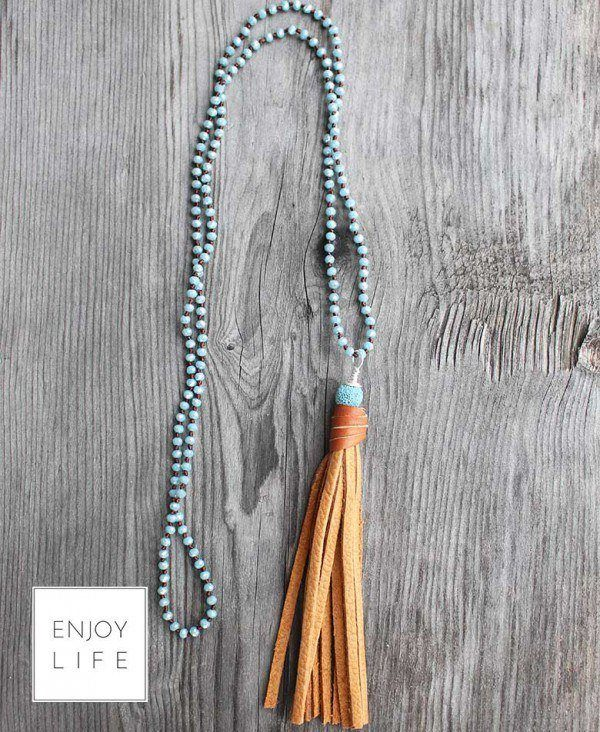 Leather tassel and lave bead diffuser necklace