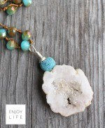 Large Crystal Crochet Strand with Turquoise Lava Bead & White Geode Focal