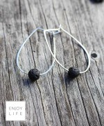 2GETHER large hand forged hoop diffuser earrings with lava bead