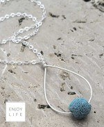 One lava bead teardrop silver diffuser necklace
