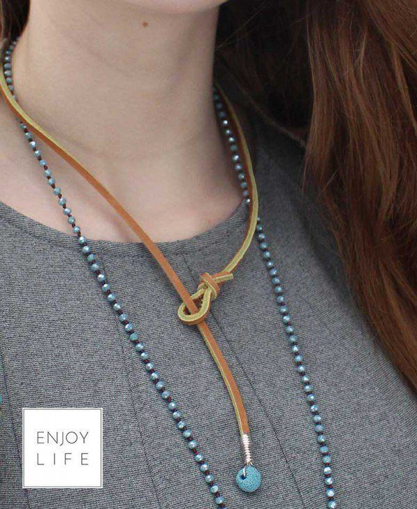 leather lariant necklace