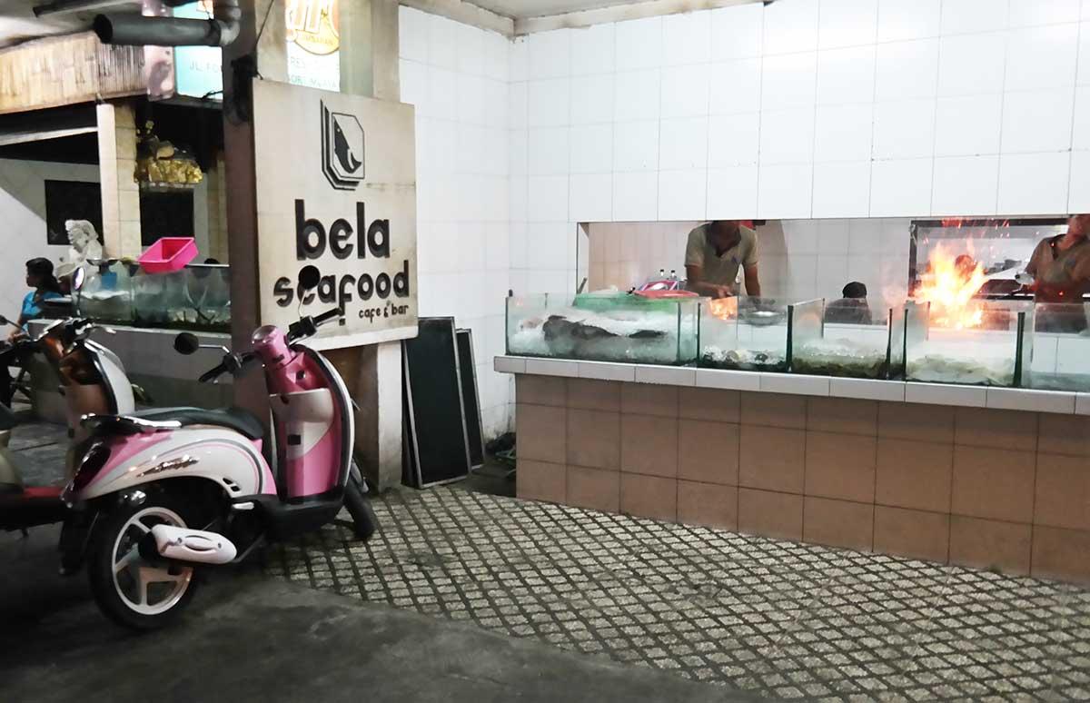 Menega Cafe seafood restaurant in Bali, in Jimbaran beach