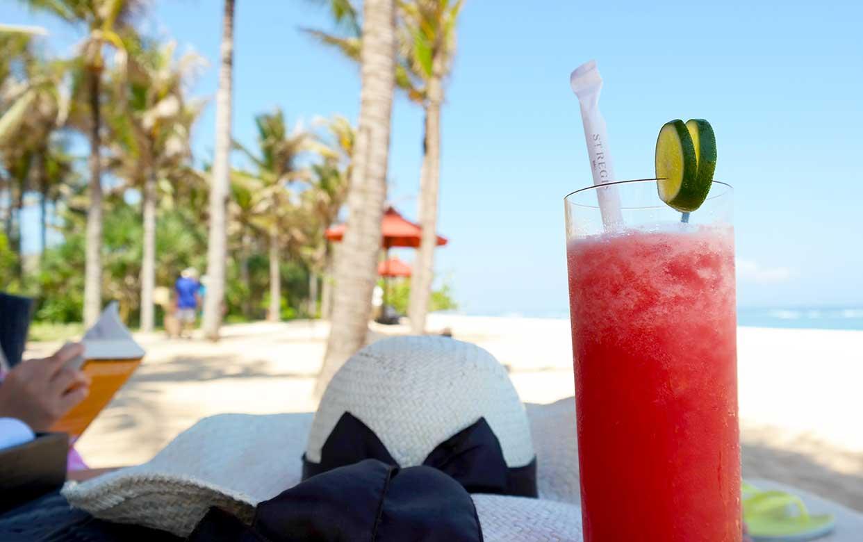 watermelon juice on the beach at St Regis Bali