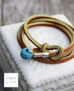 Leather diffuser bracelet with turquoise lava bead