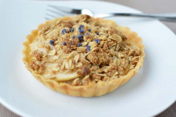 lavender pear tart with lavender essential oil