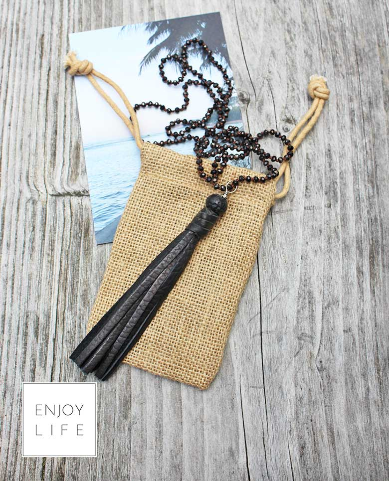 Black tassel diffuser jewelry necklace