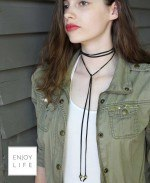 BOHO chic black wrap choker necklace