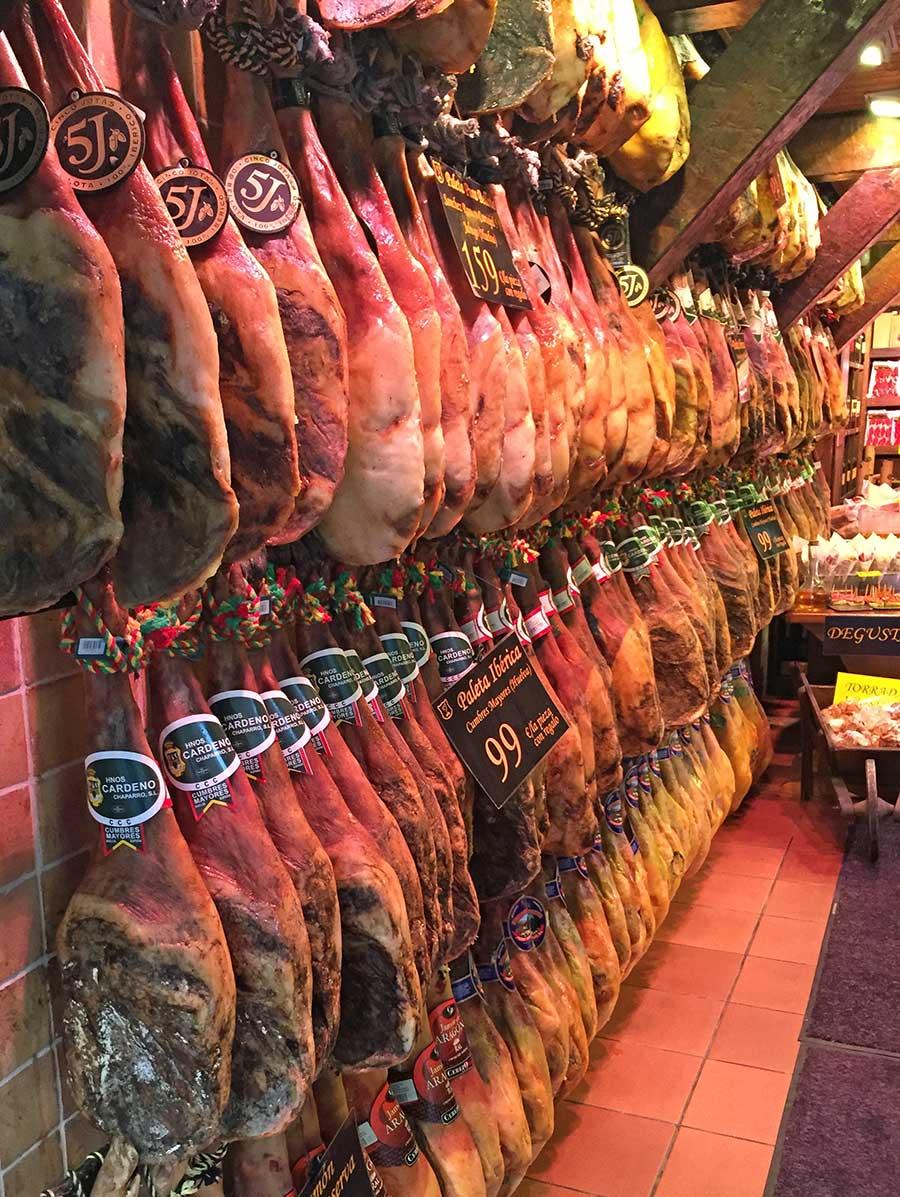 Ibearian Ham in a shop in Catalonia