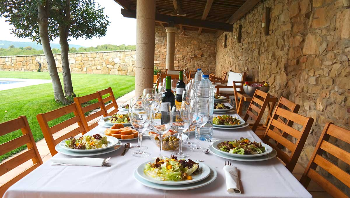 Lunch is served in Catalan country side